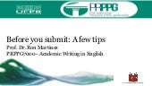 Academic Writing in English - Tips on the publication process (2019)