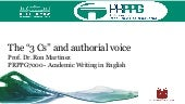 Academic writing: the 3 Cs and authorial voice - 2019