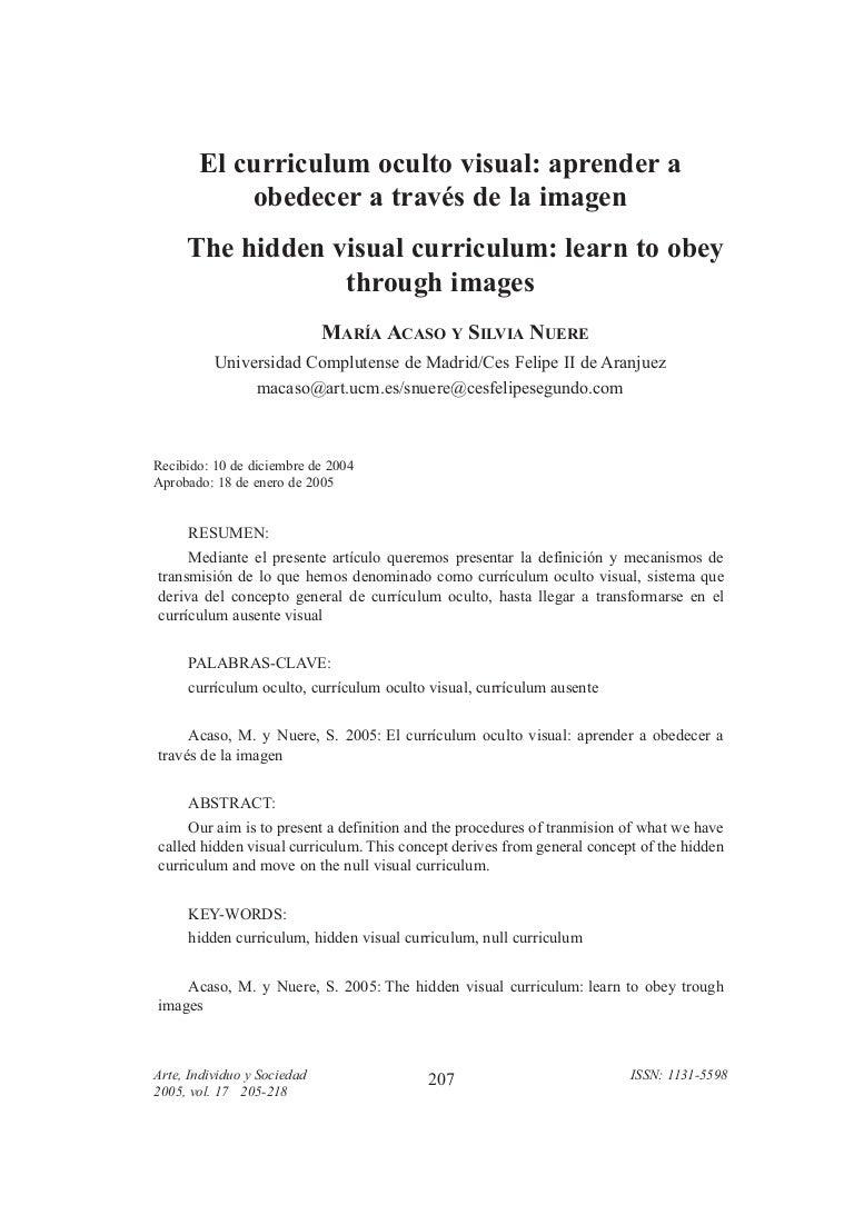MARÍA ACASO Y SILVIA NUERE: El curriculum oculto visual: aprender a o…