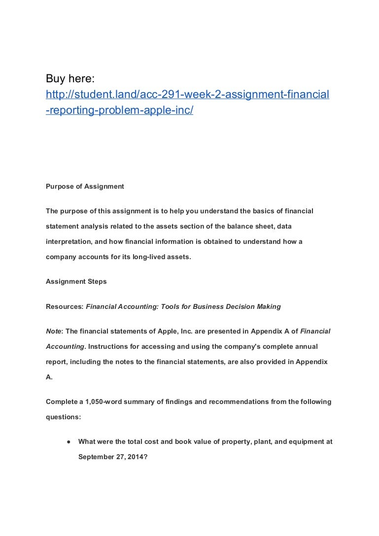 acc week assignment financial reporting problem apple inc