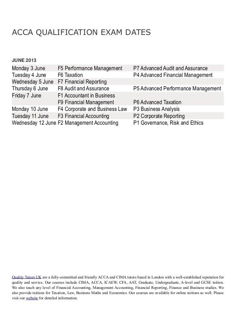 Acca june 2013 exam dates