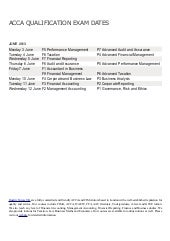 Acca june 2013 exam dates