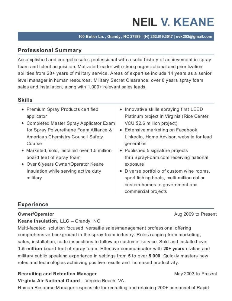spray foam professional resume