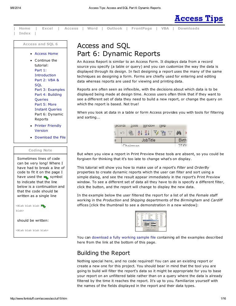 Access tips access and sql part 6 dynamic reports