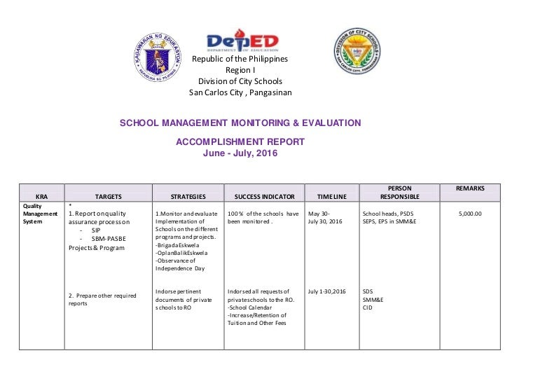 Accomplishment Report Smm&E; June-July 2016