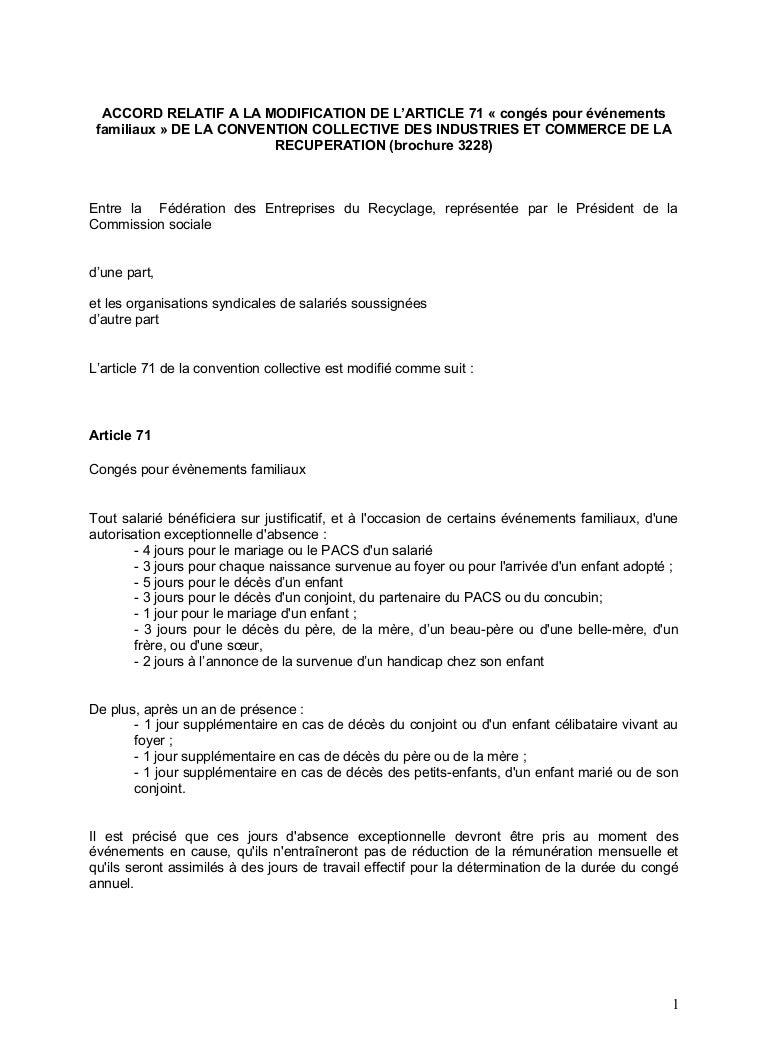 Idcc 637 Accord Article 71 Sur Les Evenements Familiaux