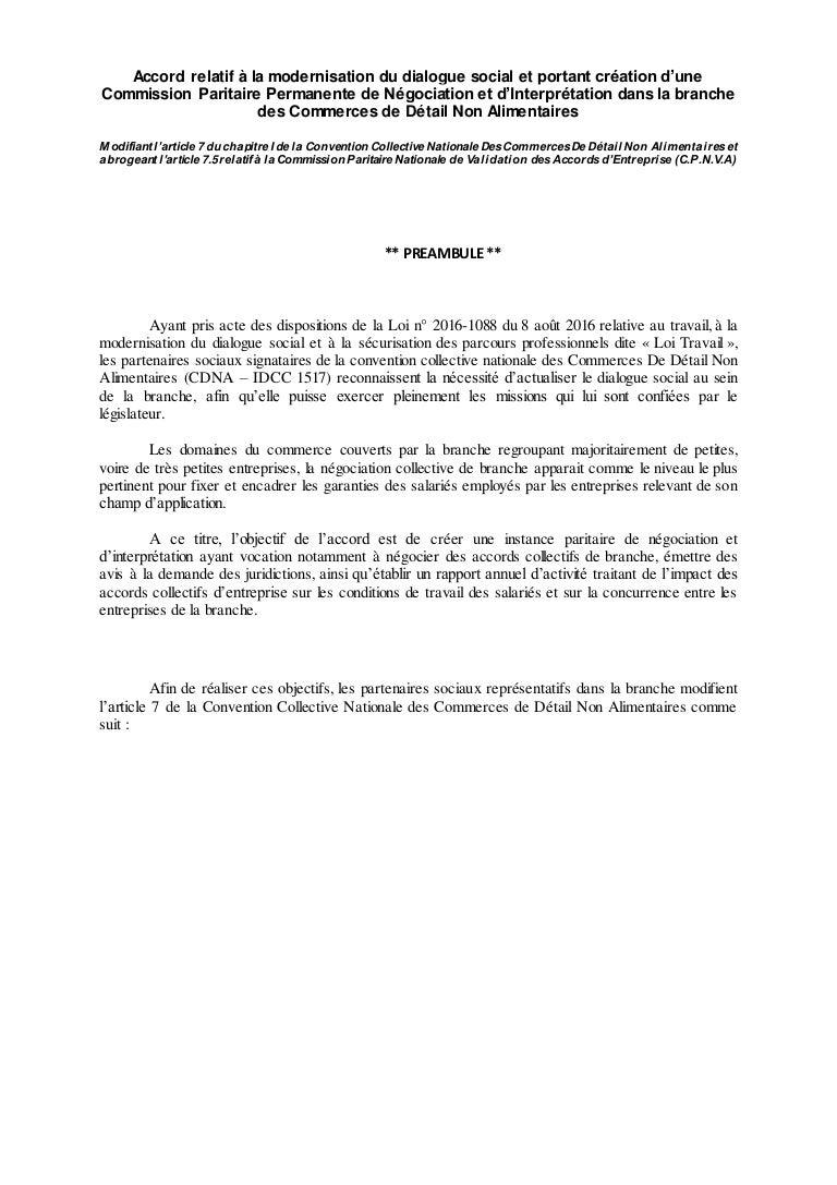 Idcc 1517 Creation D Une Cppni Dans La Ccn Du Commerces De