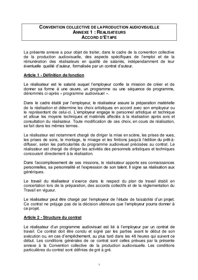 objet d un contrat de travail IDCC 2642 Annexe relatif au contrat de travail d'un réalisateur dans … objet d un contrat de travail