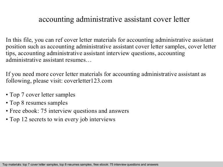 Accounting administrative assistant cover letter