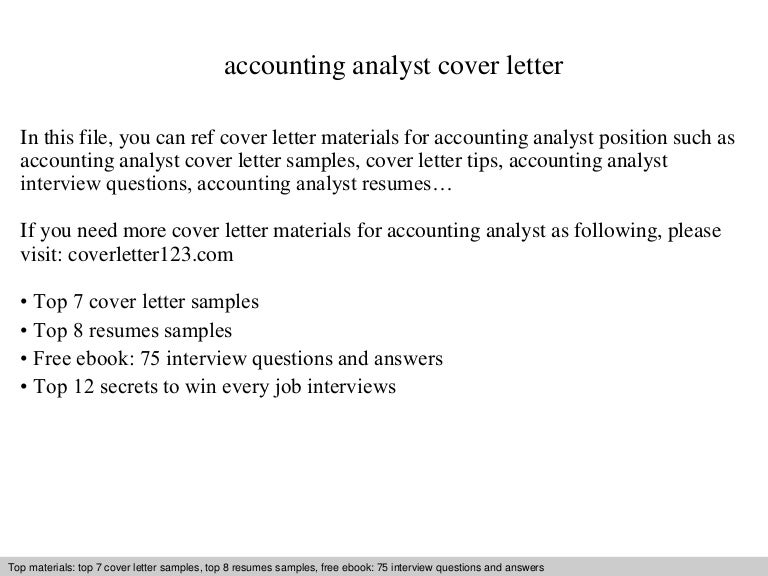 Accounting analyst cover letter