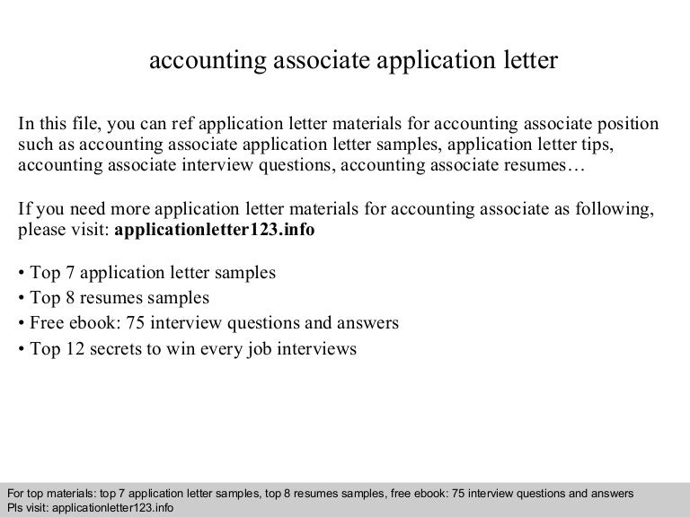 Accounting associate application letter