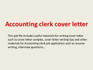accounting clerk linkedin - Cover Letter For Accounting Clerk