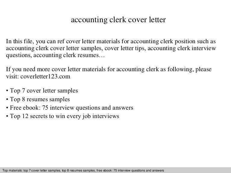 Accounting clerk cover letter