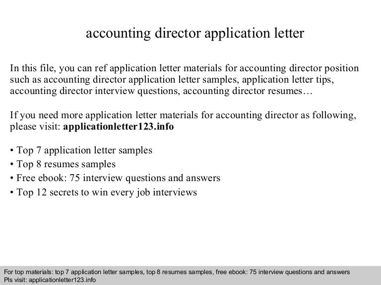 Accounting director application letter