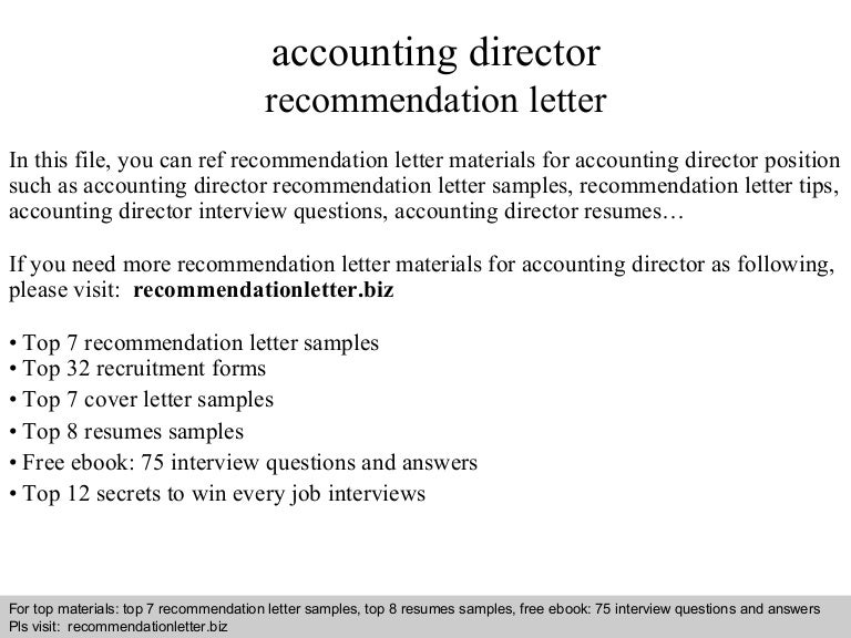Accounting director recommendation letter