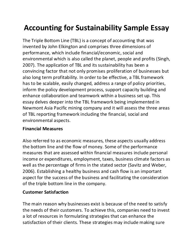 Accounting for sustainability sample essay