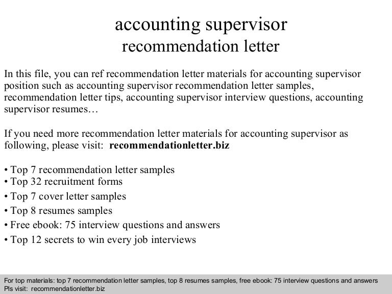 Cover Letter Accounting Supervisor - Accountant Cover Letter Sample
