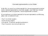 account representative cover letter budget presentation 20371