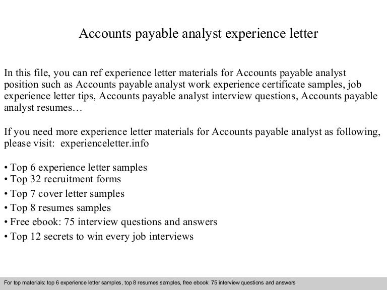 Accounts Payable Analyst Resume Sample  Accounts Payable Sample Resume