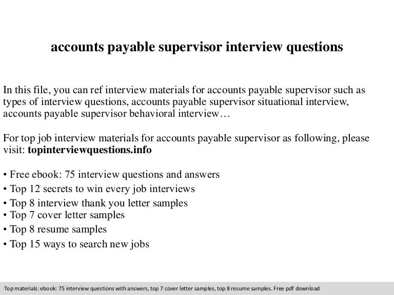Accounts payable supervisor interview questions