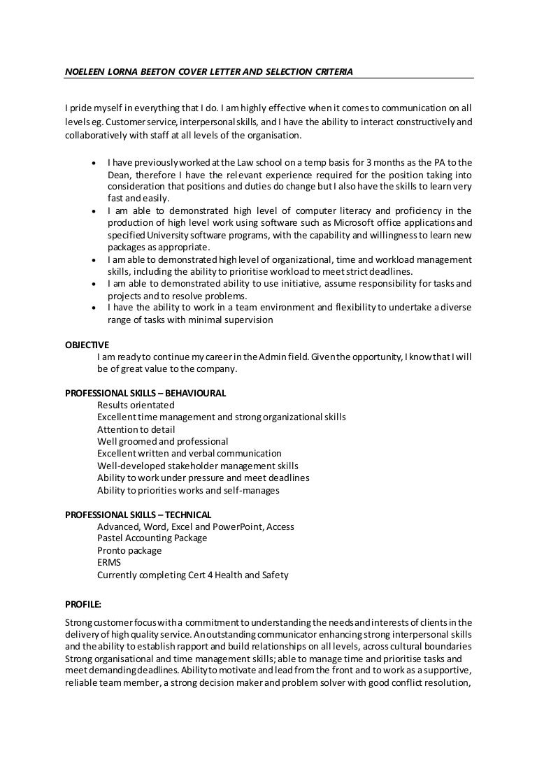noeleen lorna beeton cover letter and selection criteria