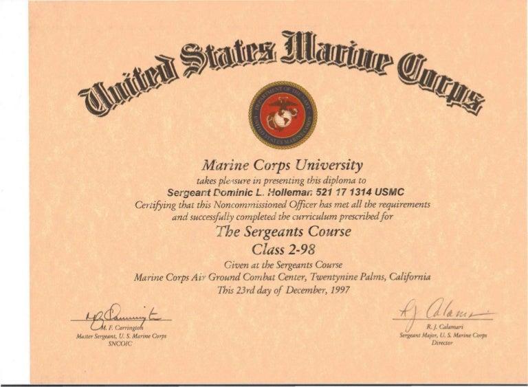 sergeants leadership certificate. Black Bedroom Furniture Sets. Home Design Ideas