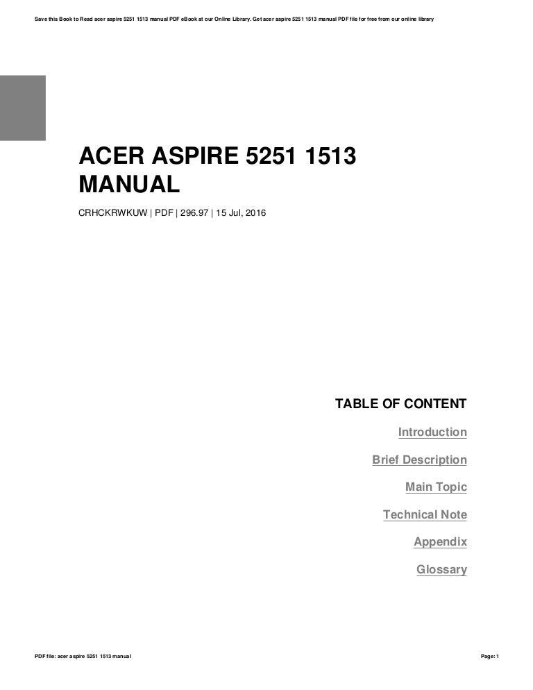 acer aspire 5251 1513 manual rh slideshare net Acer Aspire Laptop Acer Aspire BatteryType