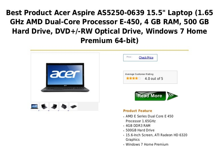Acer Aspire As5250 0639 15 5 Laptop 1 65 G Hz Amd Dual Core Processo