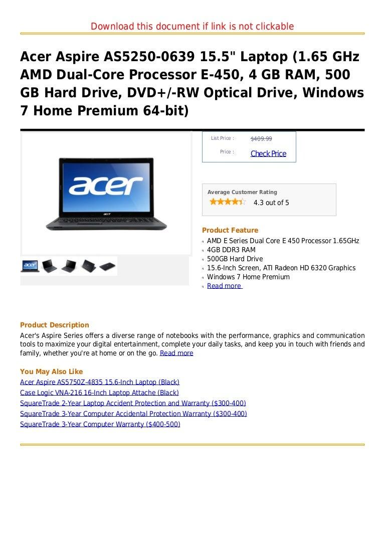 Acer Aspire As5250 0639 15 5 Laptop 1 65 G Hz Amd Dual Core Processo