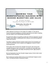 Growing Your Manufacturing Business with Modern Marketing and Sales