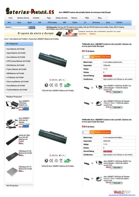 Acer um08 b73 batería at www baterias-portatil-es
