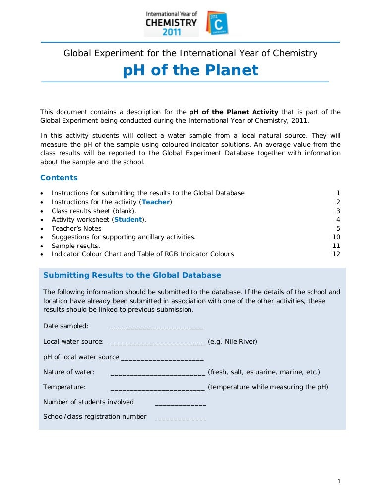 Acidity PH of the planet – Ph and Acid Rain Worksheet