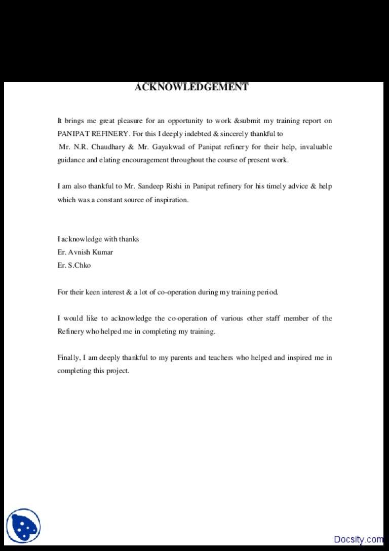 Acknowledge listoffiguresandtablessamplewritingreportandoth – Acknowledgement Report Sample