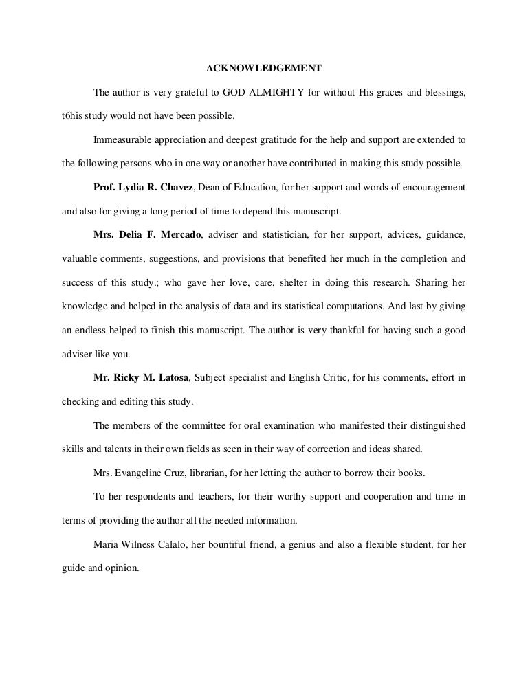 bachelor thesis acknowledgement sample