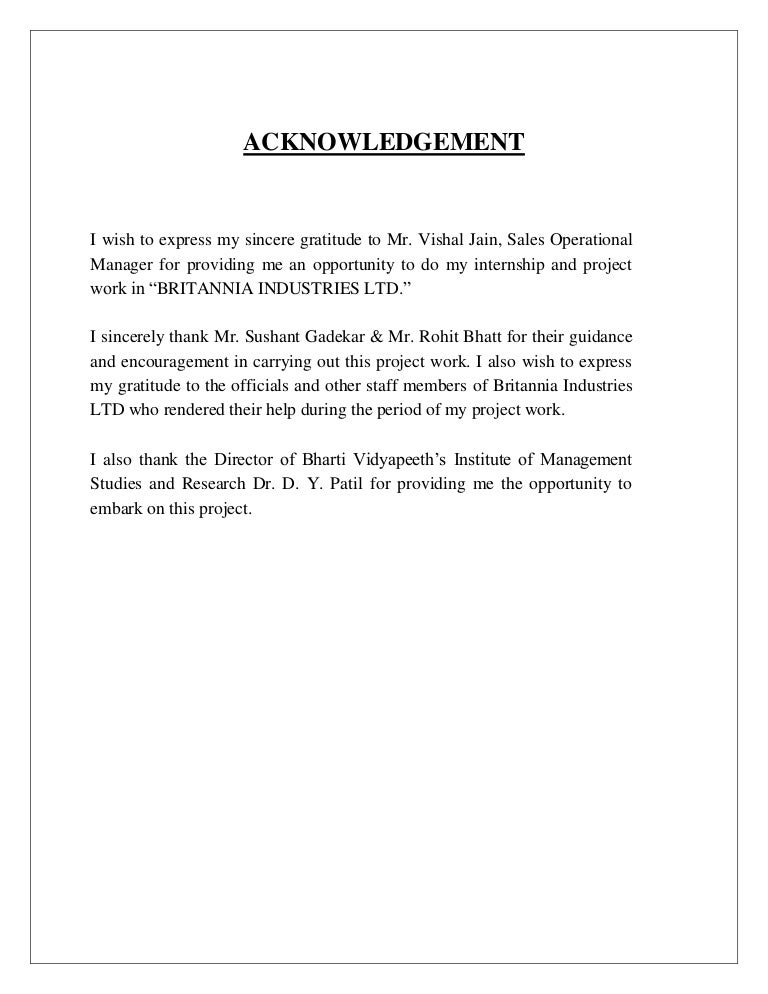 Acknowledgement page for thesis