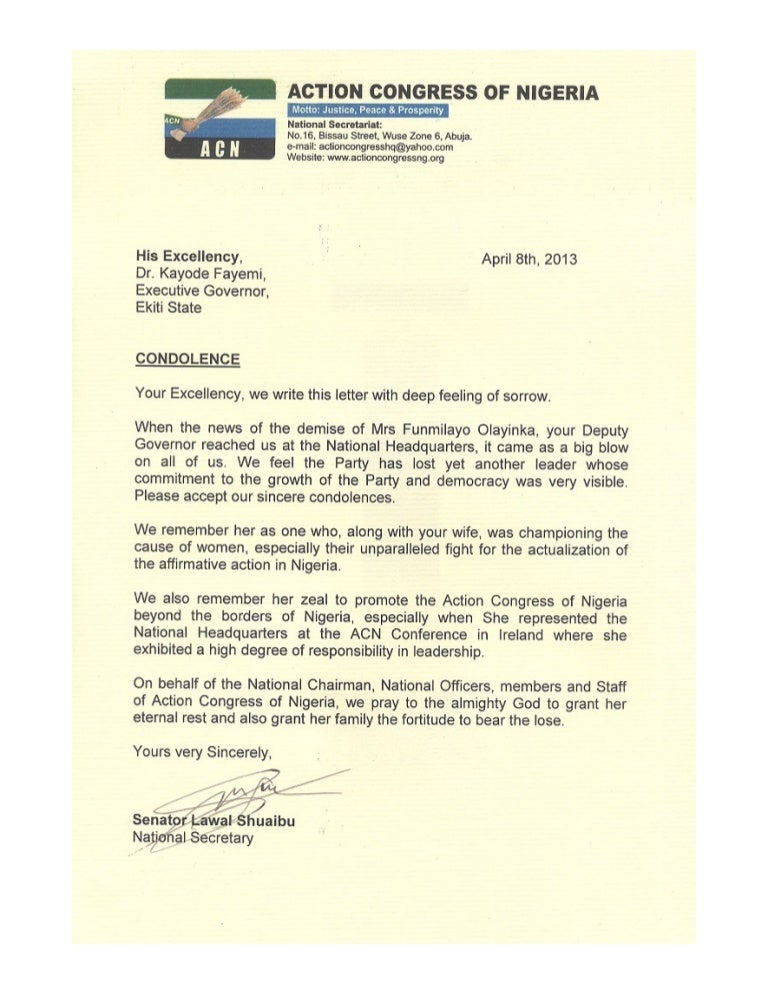 Acn Condolence Letter