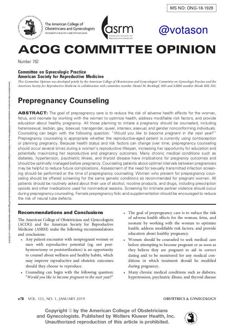Tư Vấn Tiền Thai 2019 Acog Committee Opinion No 762 Prepregnancy