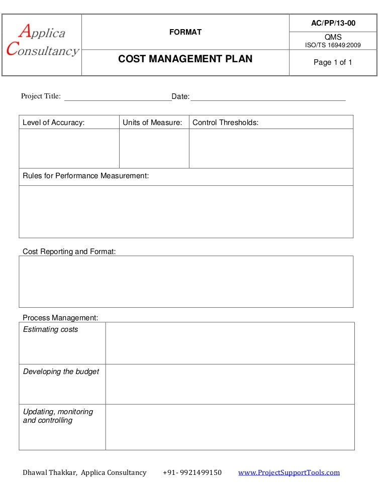 cost management plan ready template. Black Bedroom Furniture Sets. Home Design Ideas