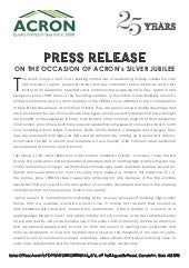 Acron, Goa's leading edge real estate developers completes 25 years