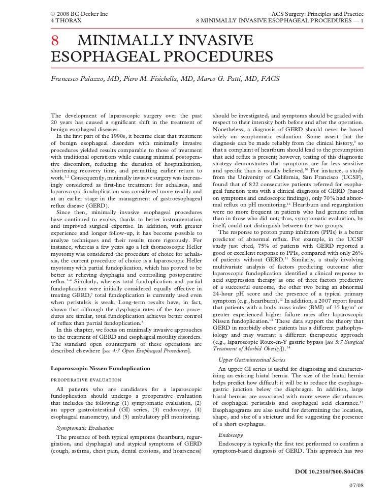 Acs0408 Minimally Invasive Esophageal Procedures