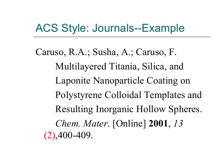 acs style  journal articles