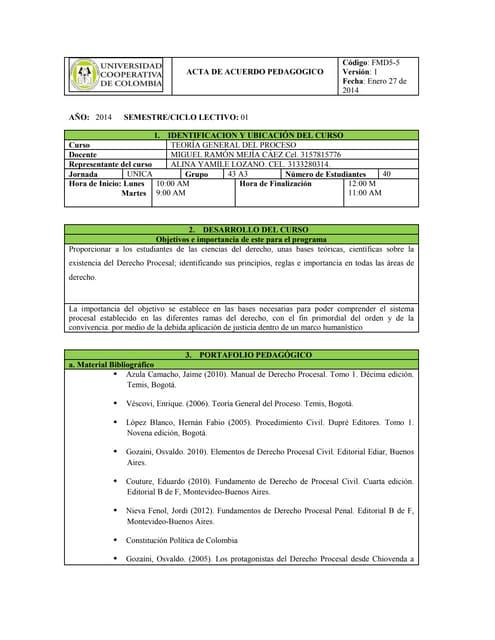 Acta de acuerdo pedagógico 2014