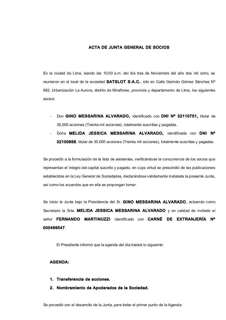 Acta de transferencia de acciones satslot 03.11.08