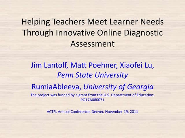 Helping Teachers Meet Learner Needs Through Innovative Online Diagnostic Assessment