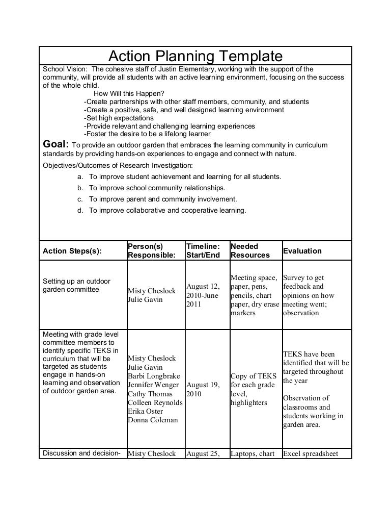 Action research plan – Research Plan Template