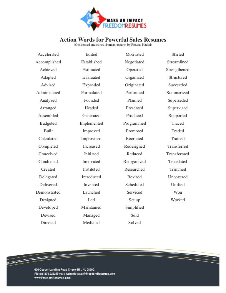 Descriptive Words For Resume positive personality adjectives list Action Words For Successful Sales Resumes