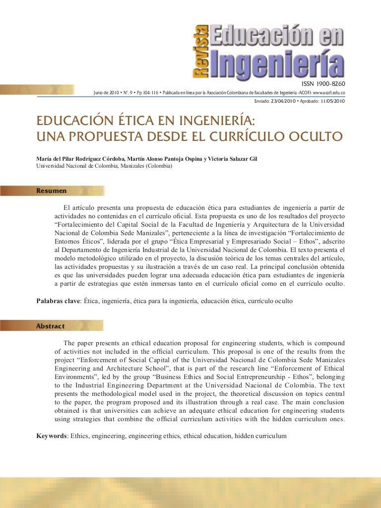 EDUCACIÓN ÉTICA EN INGENIERÍA: UNA PROPUESTA DESDE EL CURRÍCULO OCULTO