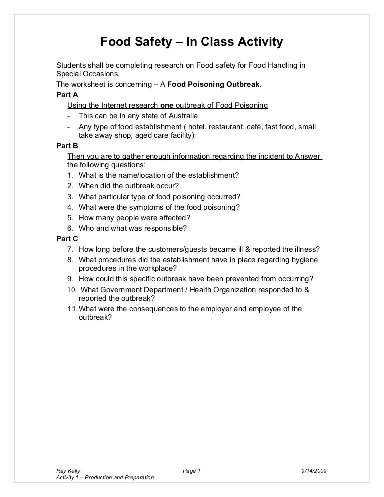 It's just an image of Food Safety Printable Worksheets with family and consumer science