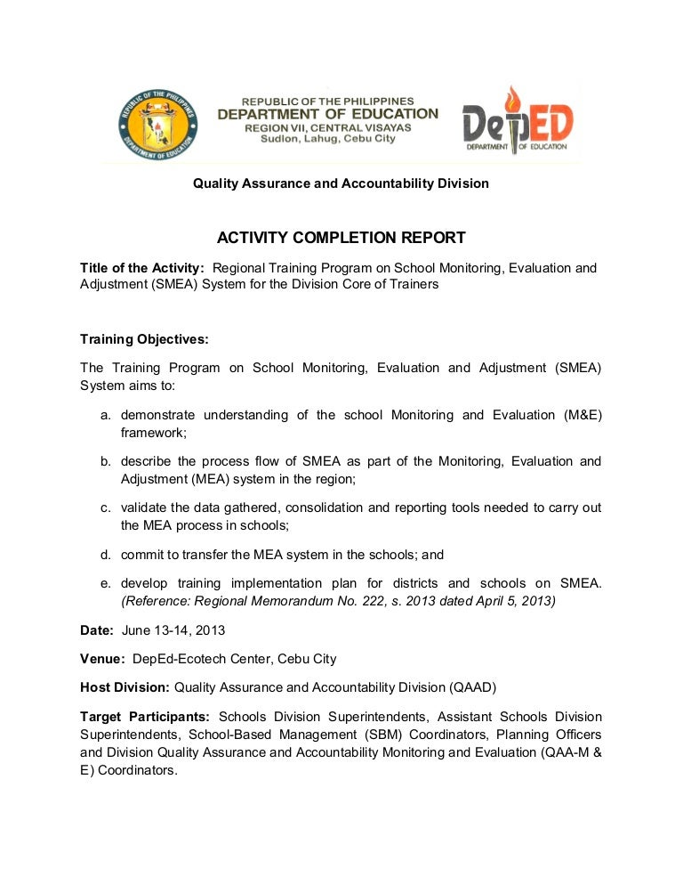 School Monitoring Evaluation and Adjustment Activity Completion Rep – Accomplishment Report Format