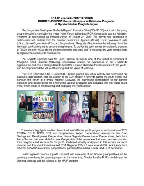 CDA R1 conducts YOUTH FORUM DUBBED AS KPOP: Kooperatiba para sa Kabataan: Programa  at Oportunidad na Pangkabuhayan